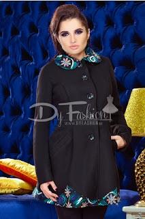 Palton dama elegant de femei de iarna negru cu imprimeuri colorate