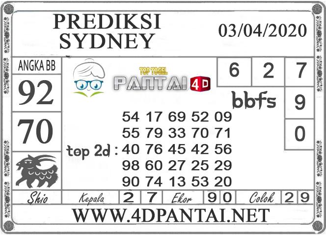 PREDIKSI TOGEL SYDNEY PANTAI4D 03 APRIL 2020