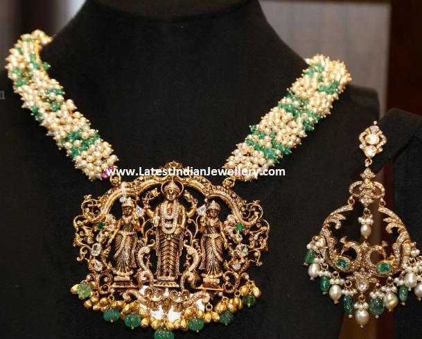 Rice Pearls Mala Nakshi Pendant