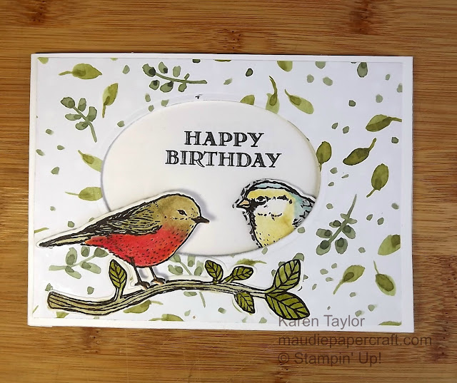 Stampin' Up! Best Birds window card with Birds & Blooms thinlits
