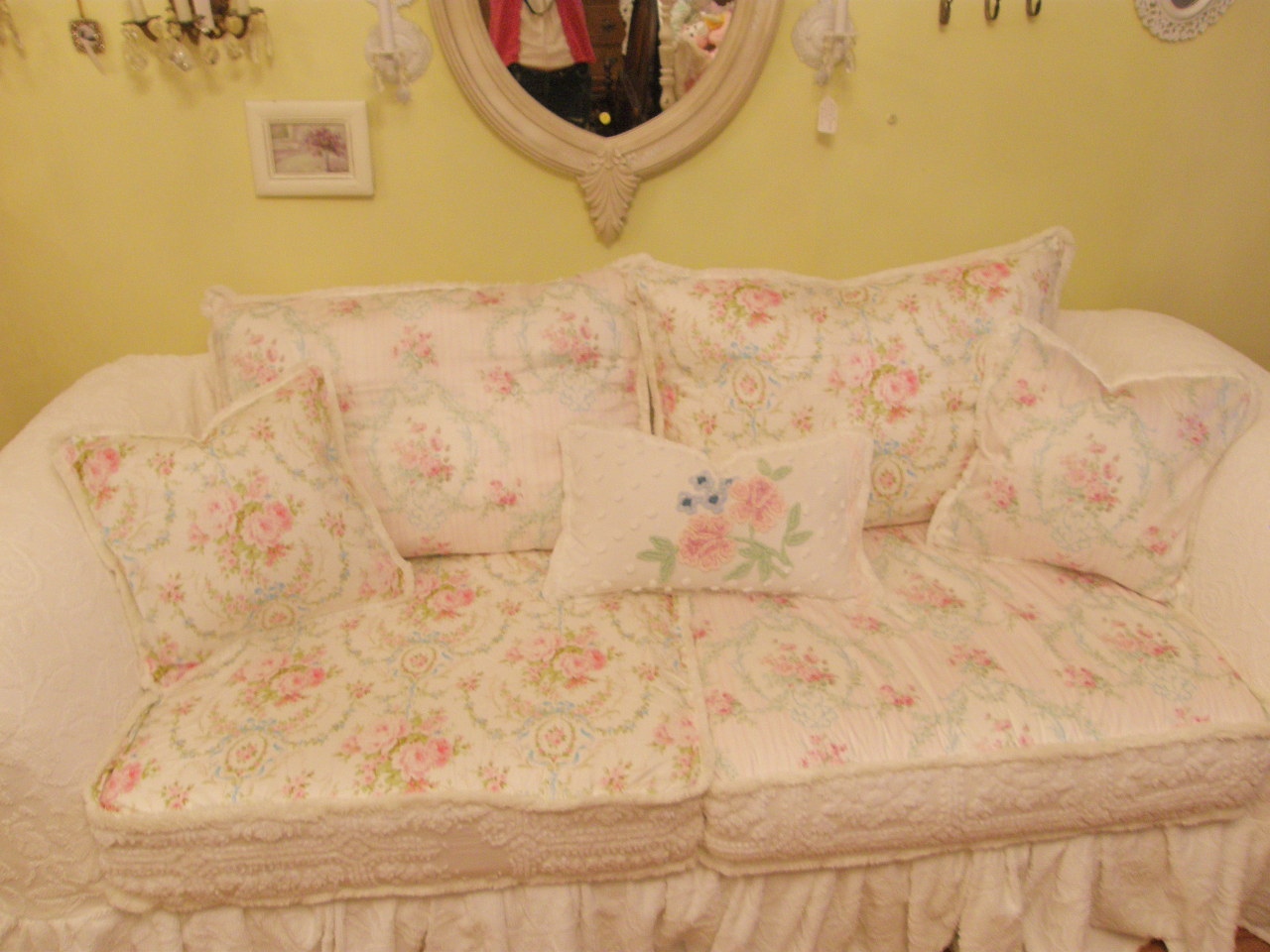Rose Sofa Slipcover Yellow Leather Set Vintage Chic Furniture Schenectady Ny Omg My New