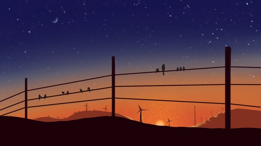 Sunset, Scenery, Illustration, 4K, #4.2023