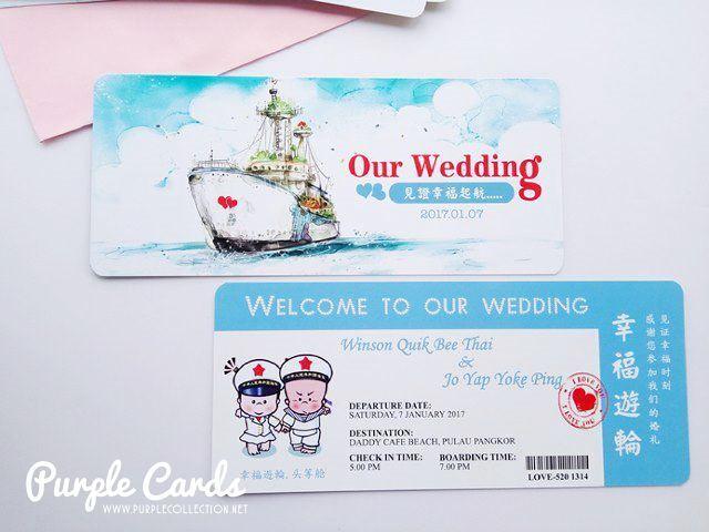 wedding card, invitation, invites, boarding pass card, by the beach, blue, art card, digital offset, kad kahwin, cetak, kuala lumpur, selangor, penang, ipoh, perak, melaka, nilai, seremban, muar, johor bahru, singapore, bentong, pahang, kuantan, online order, express, rush, urgent, personalized, personalised, simple, elegant, special