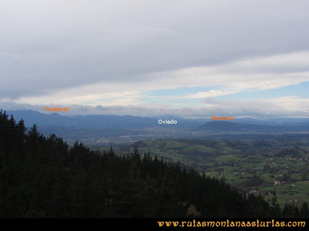 Ruta Deva, Gavio Cimero, Fario, Peña Cuatro Jueces: Mirador sobre Oviedo