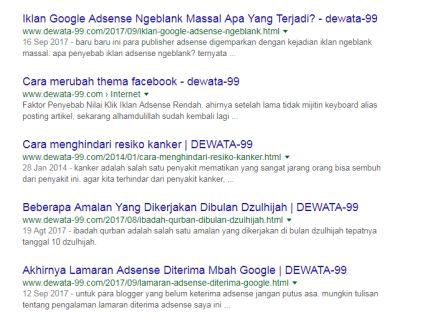 Cara mengetahui artikel terindex google