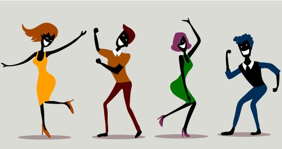 Personas graciosas tipo cartoon bailando muy divertidas
