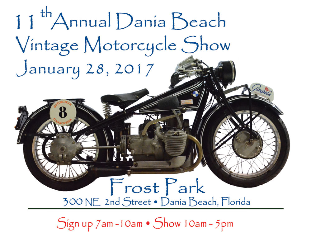 Poster for Dania Beach motorcycle show.