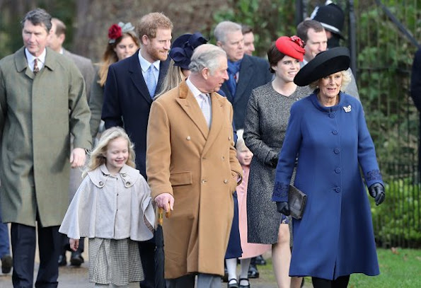 Prince Harry, Princess Anne, Prince Edward, Countess Sophie, Lady Louise Windsor, Princess Eugenie, Princess Beatrice. wore Prada dress, Prada shoes, pumps
