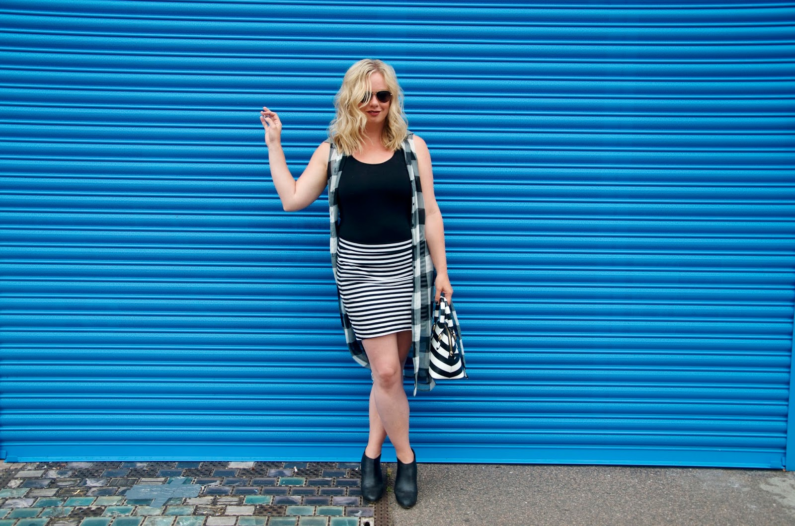 gingham and stripes with blue wall