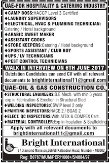 Various job vacancies in UAE June 2017