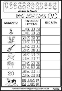 Sequência alfabética alfabetização letra V