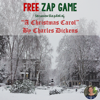 "FREE ZAP GAME to review the play version of  ""A Christmas Carol"""