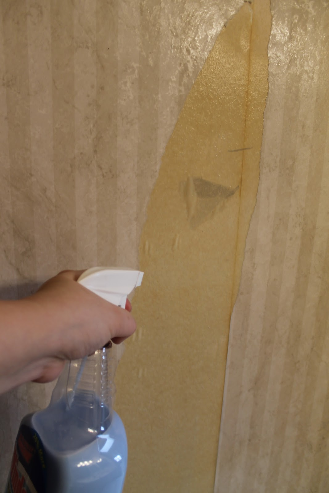 hip2thrift: How to remove old wallpaper easily {Bathroom Makeover}