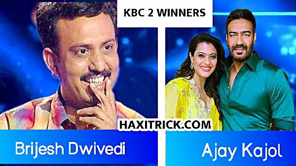 KBC 2 Winner Brijesh Dwivedi and Ajay Devgan Kajol
