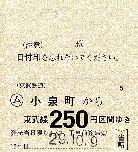 東武鉄道 常備軟券乗車券37 小泉線 小泉町駅(2017年)