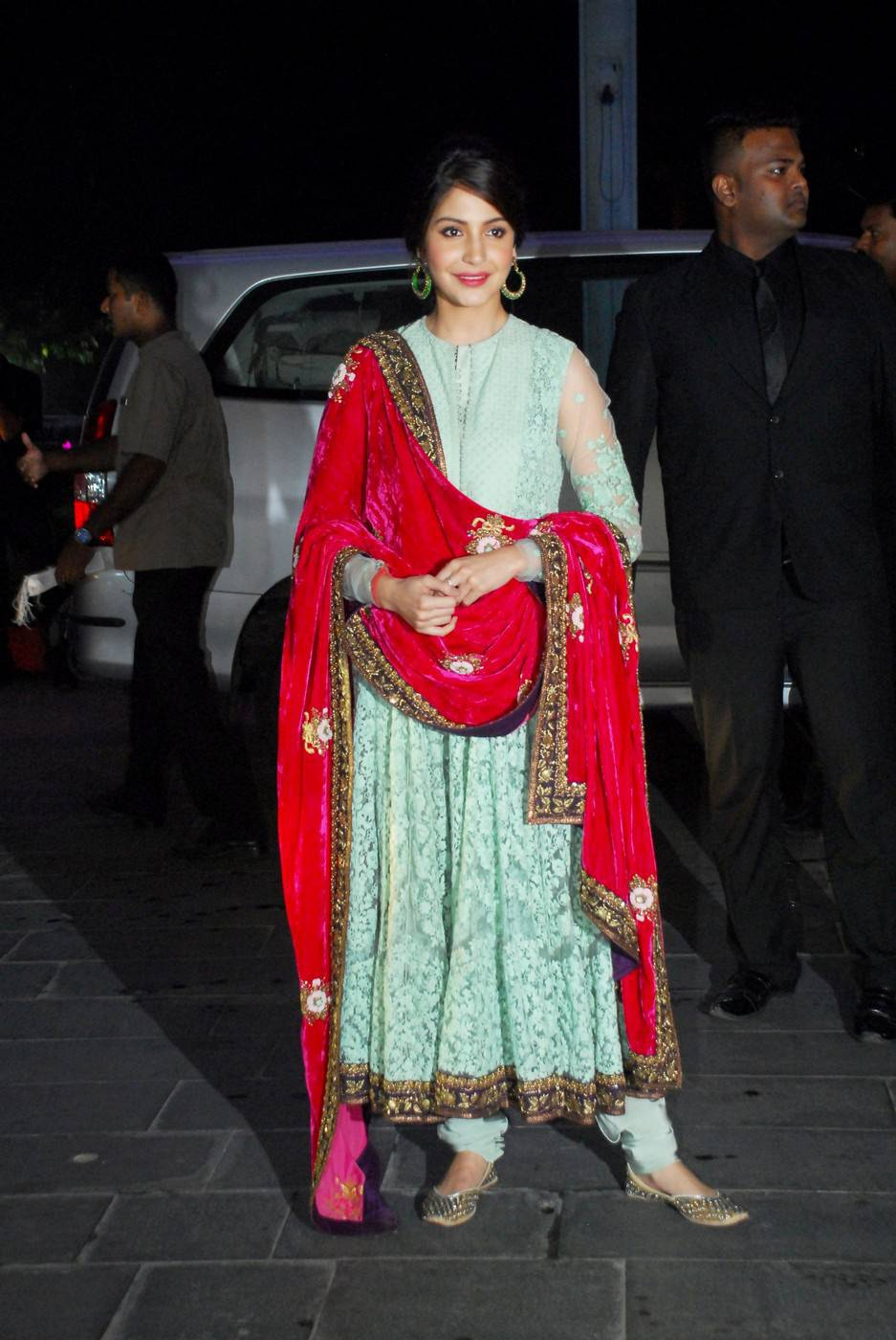 Indian Actress Anushka Sharma At Wedding Reception In Traditional Green Dress
