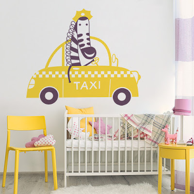 Vinilo Infantil Jirafa Taxi