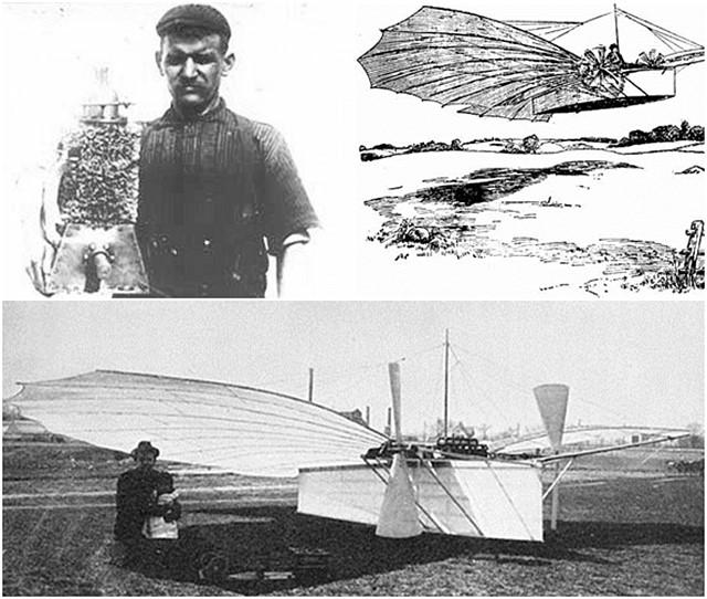 구스타프와 동력 엔진과 그의 Number21과 비행했던 기록을 남긴 스케치 < 출처: 위키피디아/>