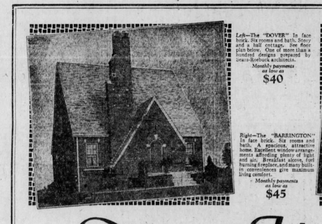 closeup of Sears newspaper ad showing Mitch Mowrer's 1928 brick Dover in Indianapolis Indiana