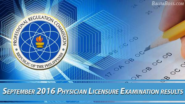 Physician September 2016 Board Exam Results