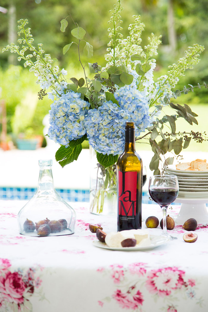 outdoor party with wine