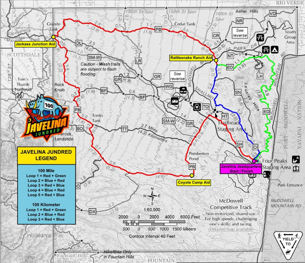 course map from the javelina jundred race site