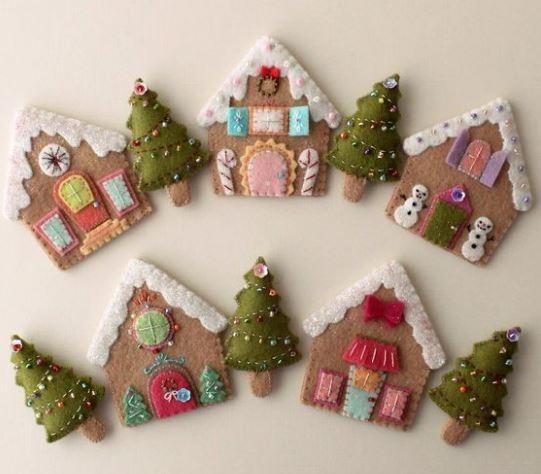 8 adornos navide os en fieltro para decorar en navidad - Decorar cojines con fieltro ...
