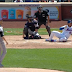 Carlos Gomez nearly hits HR while falling