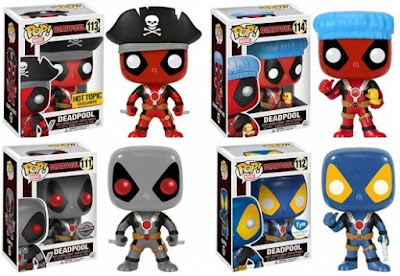 "New Retailer Exclusive Deadpool Pop! Vinyl Figures by Funko - Hot Topic Exclusive Pirate Deadpool, Target Exclusive Bath Time Deadpool, GameStop Exclusive X-Force ""Two Swords"" Deadpool & FYE Exclusive X-Men ""Thumbs Up"" Deadpool"