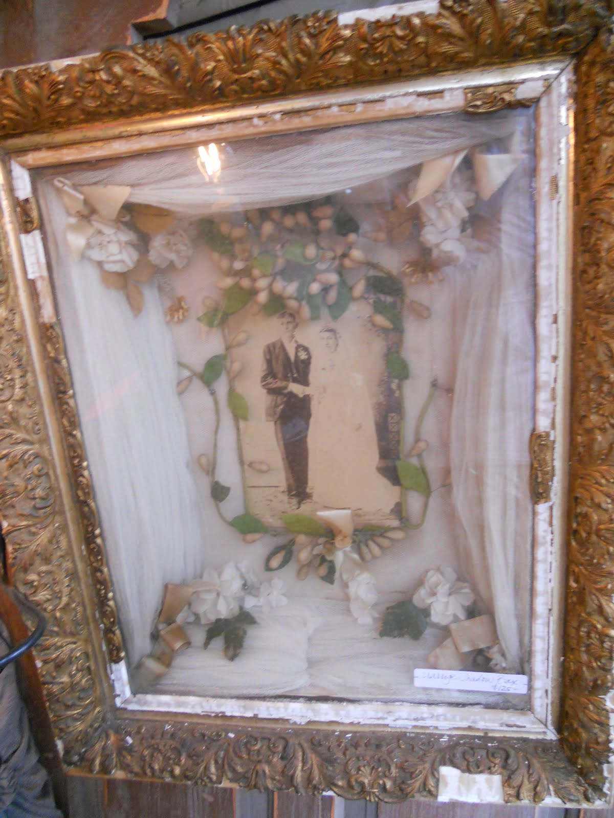 Old Cloth Art Shadow Box