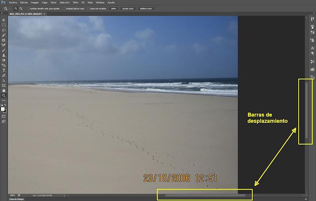 Barras de desplazamiento en ventana de imagen en Photoshop