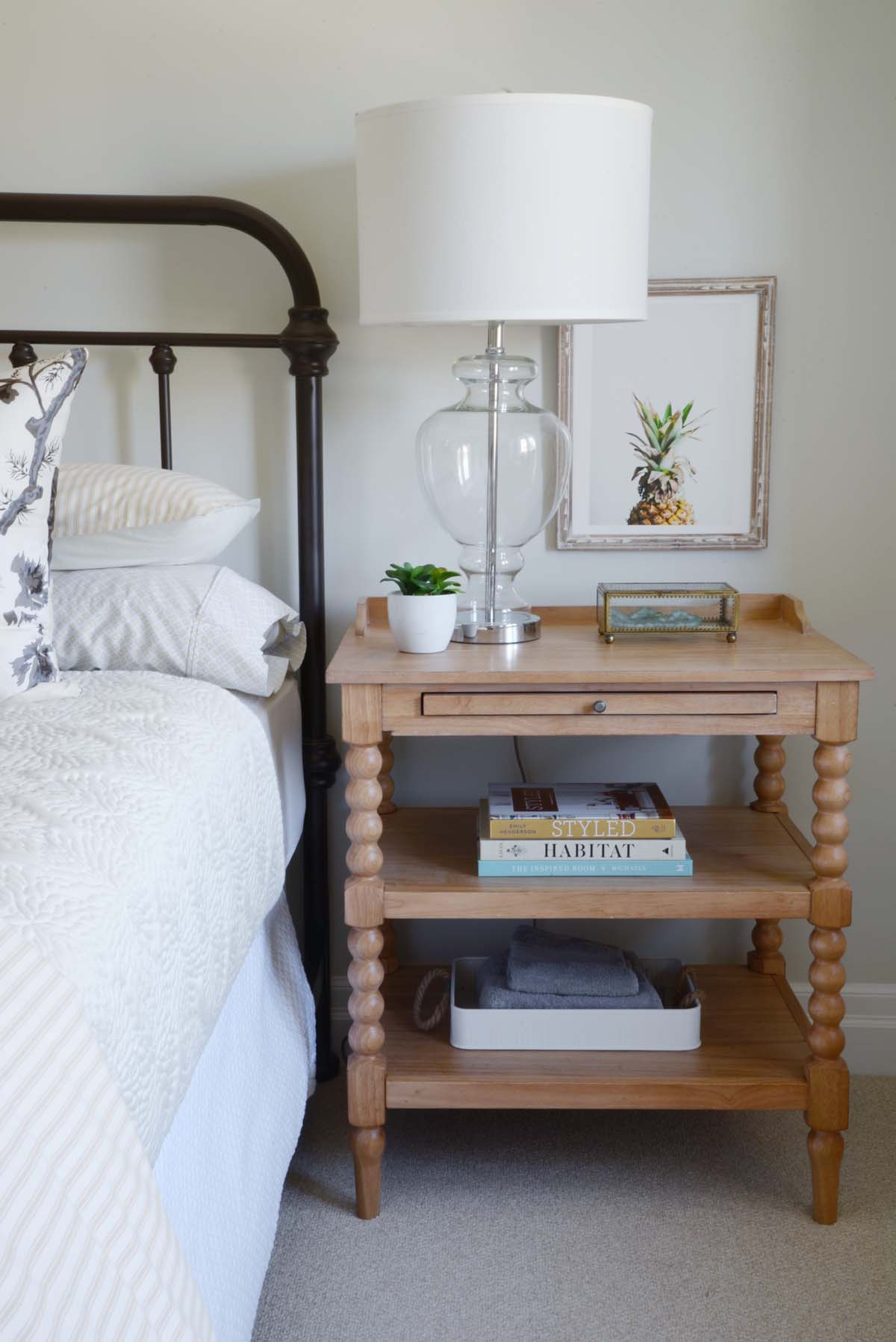 farmhouse guest bedroom, spool side table, simple guest bedroom