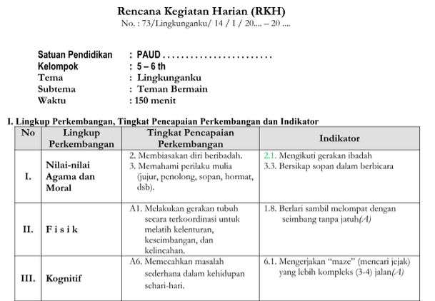 RKH Tema Lingkunganku Kurikulum 2013 Revisi TK B