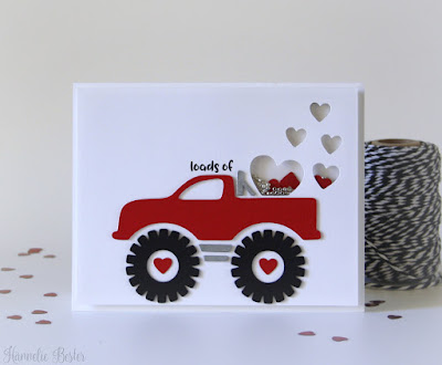 Valentine monster truck : Shaker card