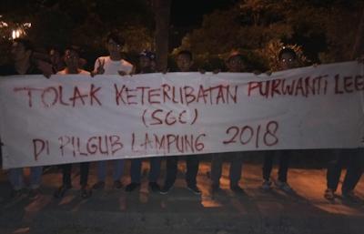 Massa Minta Usut Keterlibatan SGC Dalam Pilgub Lampung 2018