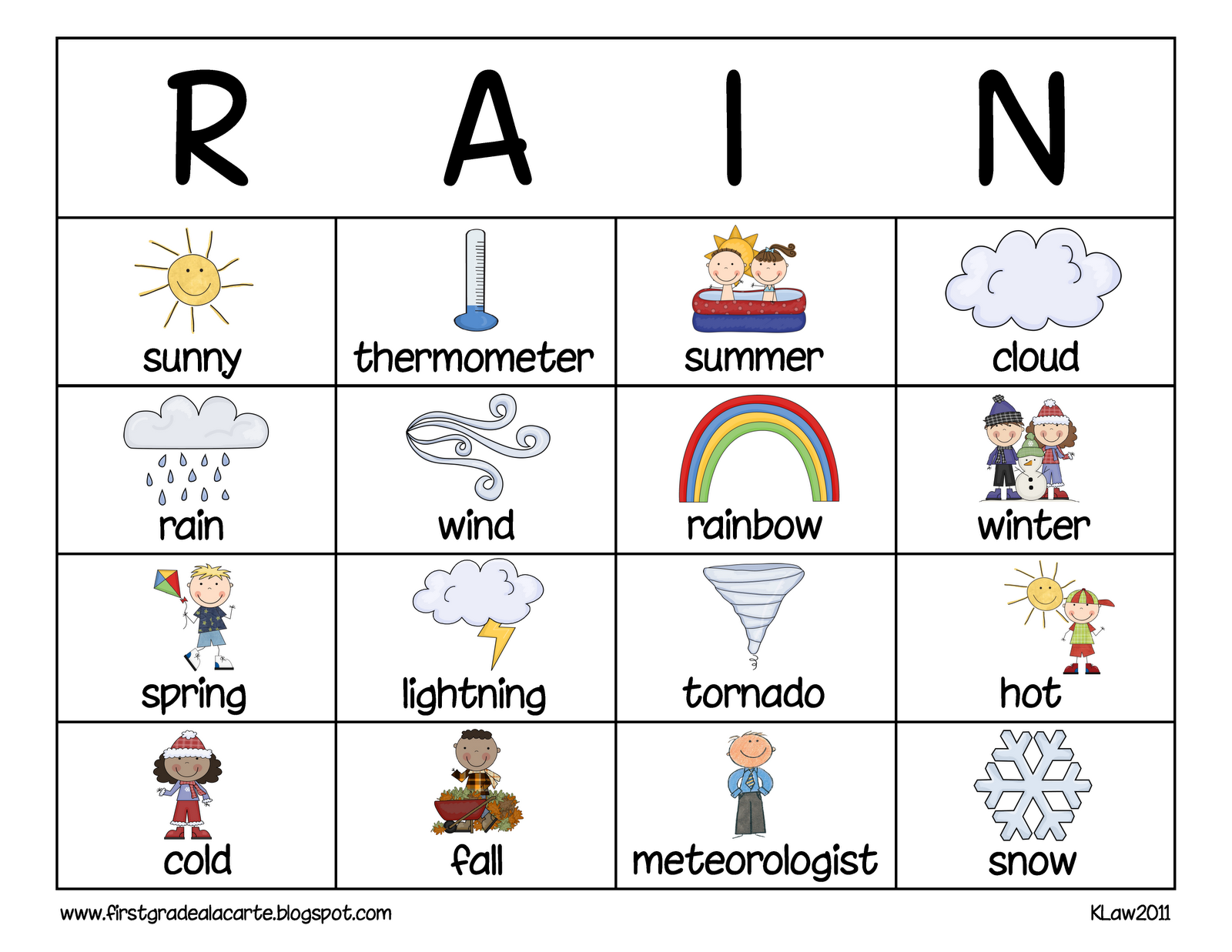 First Grade A La Carte How S The Weather