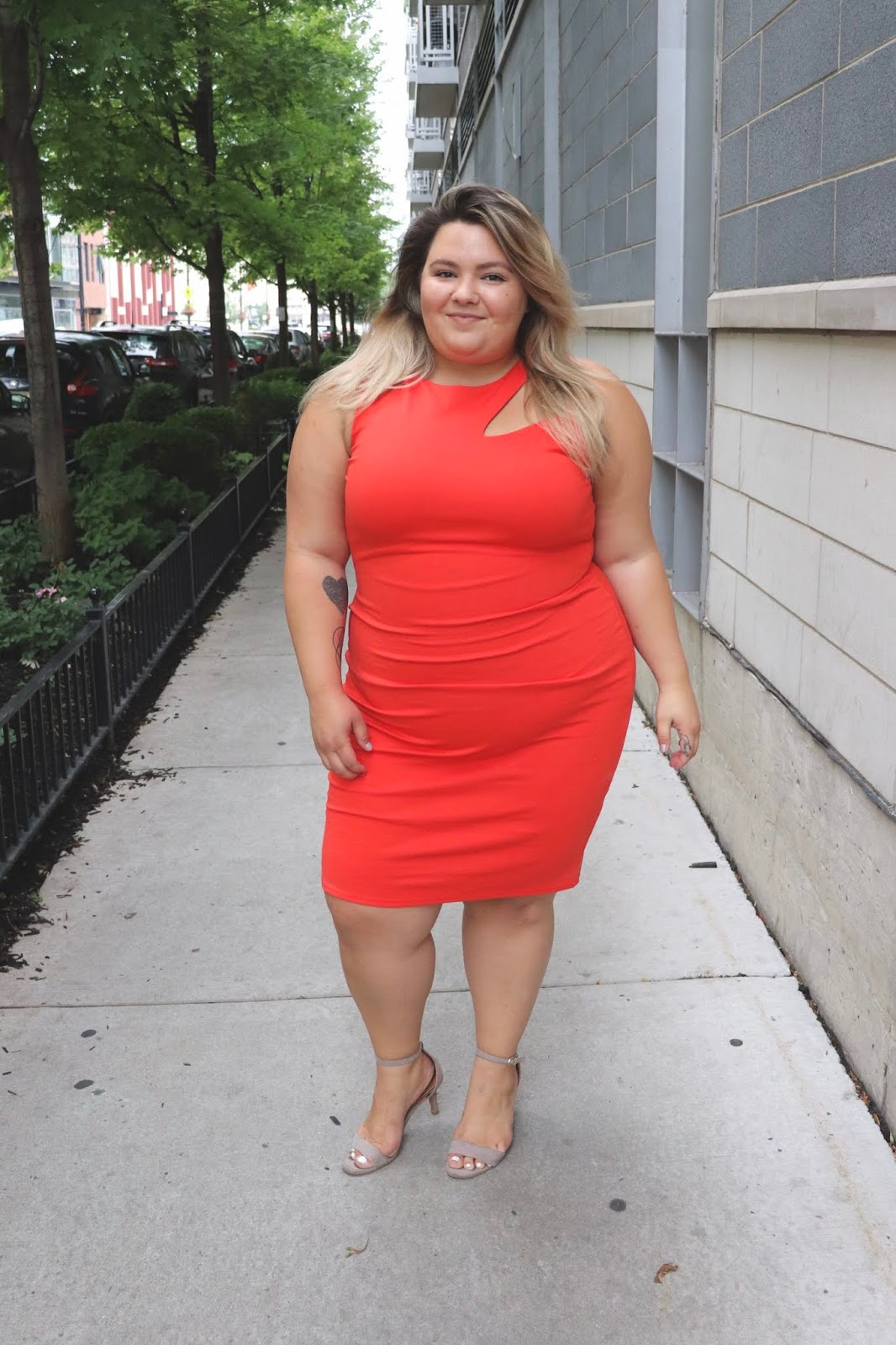 Chicago fashion blogger, Chicago plus size fashion blogger, natalie Craig, natalie in the city, plus size fashion, Chicago fashion, plus size fashion blogger, eff your beauty standards, fatshion, skorch magazine, Chicago model, plus size model, plus size petite, affordable plus size clothing, embrace your curves, plus model magazine,  petite plus size, fashion nova, fashion nova curve, orange cutout dress