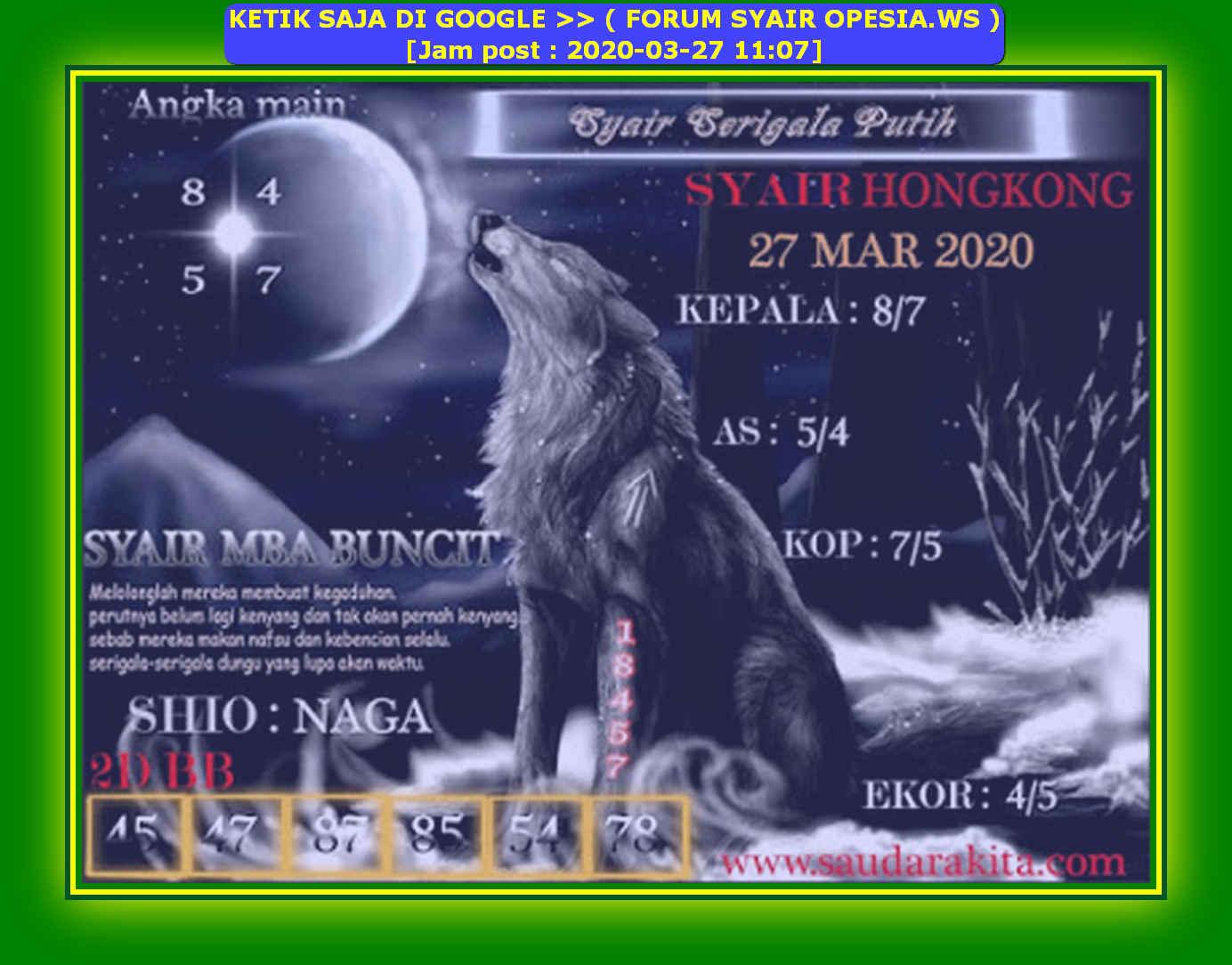 Kode syair Hongkong Jumat 27 Maret 2020 173