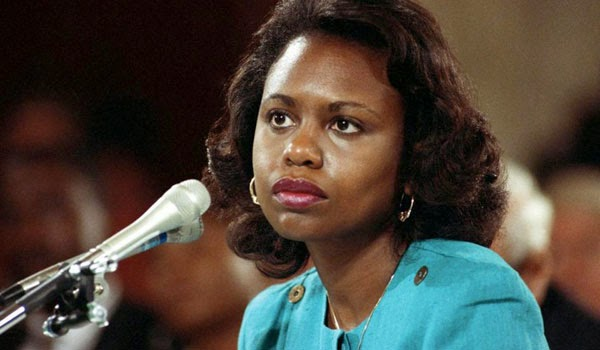 Anita Hill testifying about Clarence Thomas in 1991.
