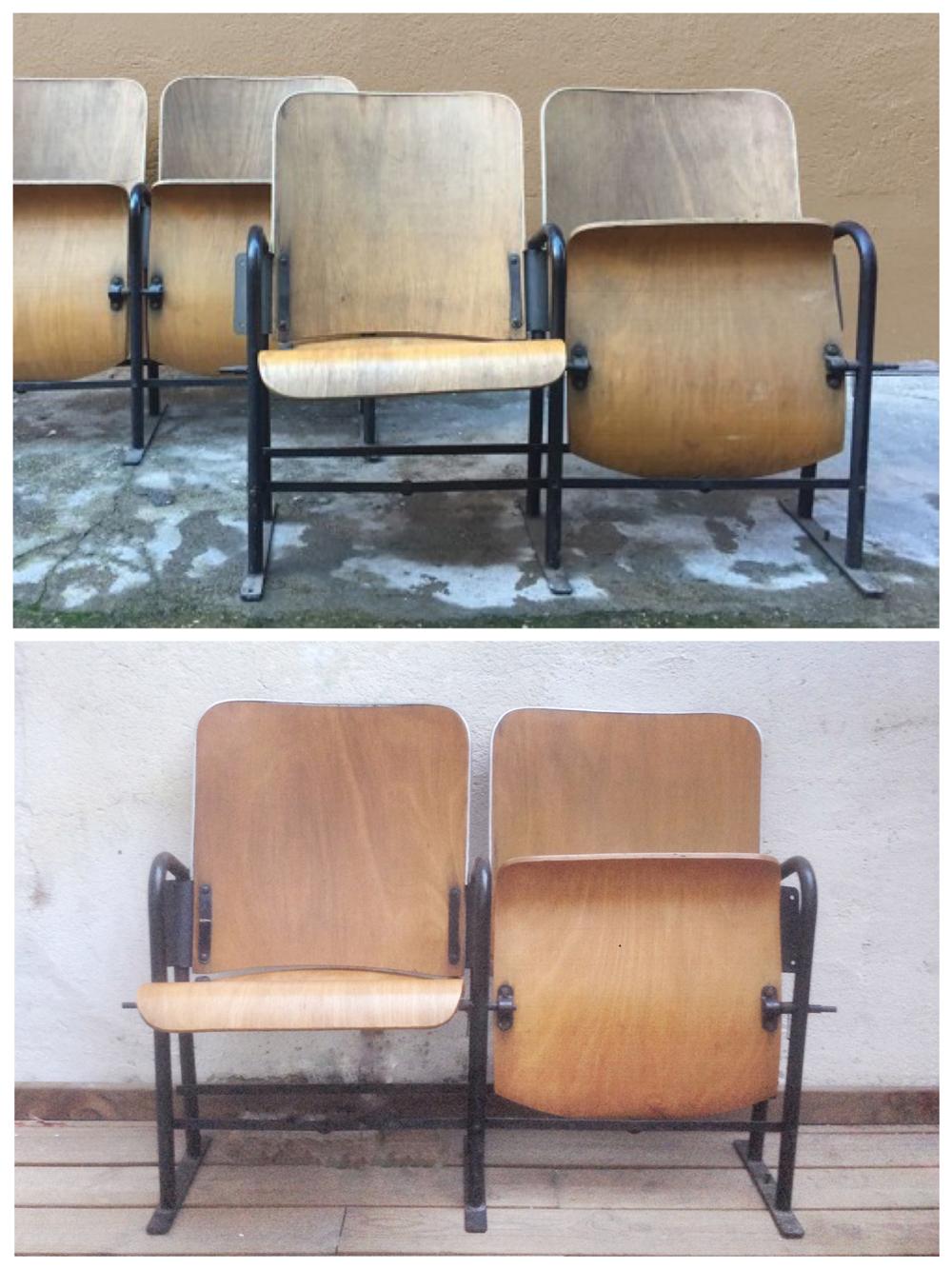 Antes y después - Sillas de cine restauradas - Studio Alis