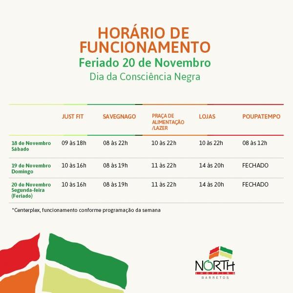 9947e806f6a North Shopping Barretos tem horário especial no feriado de 20 de novembro