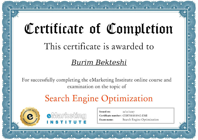 Online course for Search Engine Optimization by eMarketing Institute - Burim Bekteshi