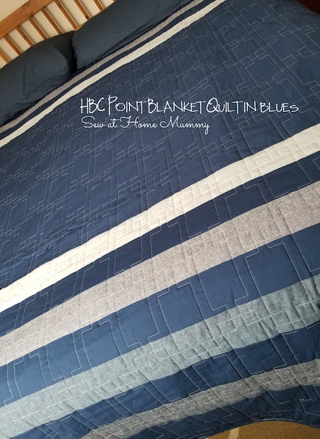 Super easy DiY HBC Point Blanket in blues featuring Robert Kaufman Essex Linens - LOVE! by Erin of Sew at Home Mummy