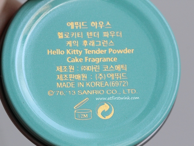 Etude House Hello Kitty solid perfumes - back of tin