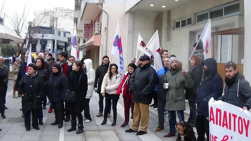 Παράσταση διαμαρτυρίας του ΠΑΜΕ με αφορμή την επίσκεψη Αχτσιόγλου στον Έβρο