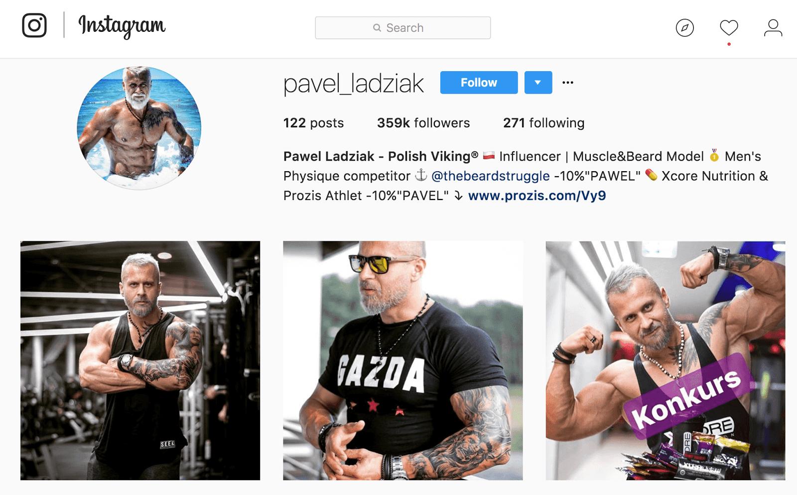 Pawel Ladziak has thousands of followers on Instagram