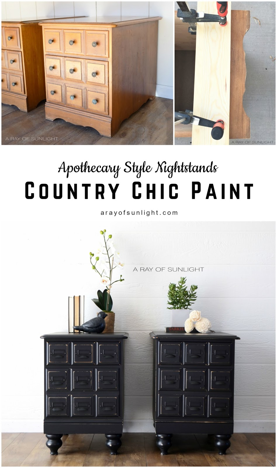 We found these vintage nightstands with amazing drawer fronts that resemble the ever so popular apothecary or card catalog style. We knew that we had to have them just because of that! But they came with one downside, they were pretty short! Bummer. With some help from the circular saw, some new legs and of course, Country Chic Paint, we were able to transform these old nightstands into an amazing one of a kind set! A Ray of Sunlight #countrychicpaint #paintedfurniture #apothecary #furnituremamkeover #vintagemodern #blackfurniture #farmhousedecor