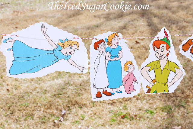 Peter Pan Birthday Party Neverland Tinkerbell John Michael Wendy Flag bunting Banner Garland DIY idea