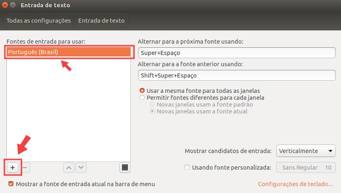 configuracao de lista de teclado para o ubuntu