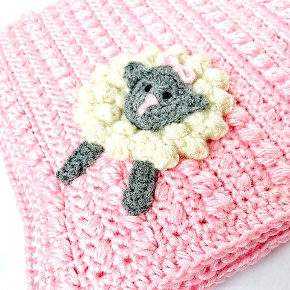 Sheep baby blanket Crochet pattern